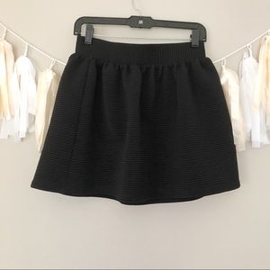 Anthropologie Black Ribbed  Mini Skater Skirt